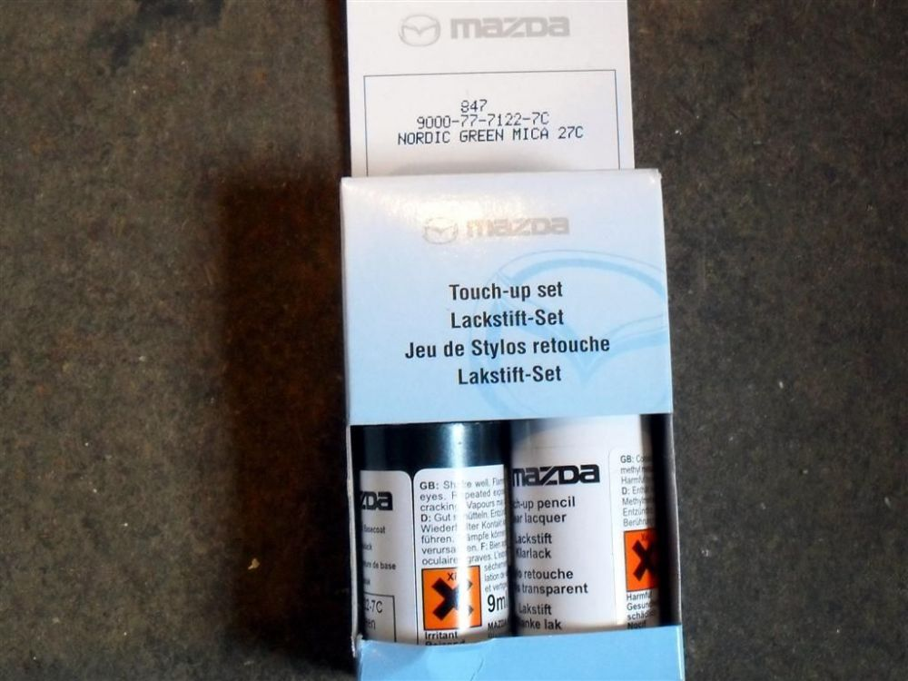 Paint touch up kit, genuine Mazda, 27C Nordic Green mica